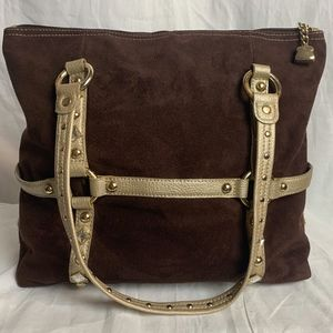 Brown & Gold Faux Sued Shoulder Bag